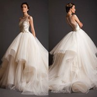 Wholesale 2016 Princess Krikor Jabotian A Line Wedding Dresses Ball Gowns Sheer Bateau with Gold Appliques Illusion Back Asymmetric Court Train BA0430