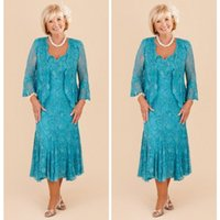 Wholesale Turquoise Plus Size Mother of the Bride Dresses V Neck Lace Mother Groom Dresses Tea Length Wedding Womens Formal Outfits With Free Jackets