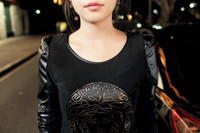 Wholesale Cool Long Women Shirt - Wholesale-Hot sale!Cool!Autumn Winter T shirt Women Long Sleeve PU Leather Sleeve Beauty Head Tops Plus Size S-XXL roupas femininas #01010