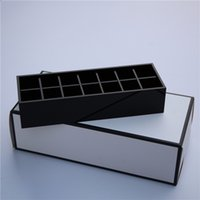 Wholesale Luxury Fashion Brand Grid Cosmetic Accessories Storage Box High grade Acrylic Makeup Brush Lipstick Kit Black Jewelry Box