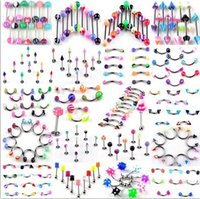 Wholesale UV acrylic of mixed color bcr ring tongue ring belly button ring body piercing jewelry120pcs