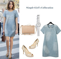 Casual Dresses Bodycon Dresses Summer Europe and America 2016 new fashion elegant office women denim skirt light blue loose bead short sleeve large size S TO 5XL ladies Clothing