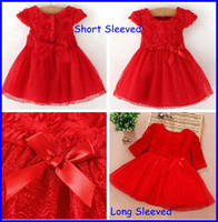cute dress - New Girls Christmas Red Princess Dress Children Christmas Dress Toddler Rose Floral Tulle Party Dress Cute Infant Birthday Dresses