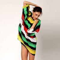 Cheap 2015 New Sexy Women Chiffon Dress color Stripes Beachwear Beach Bikini Oversized Swimwear Smock beach cover up Top Quality