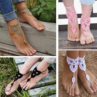Wholesale WishCart Women Girl s Barefoot Double Zipper Anklet Crochet Cotton Ankle Chain Sandal Bracelet Foot Silver Origami Owl Gold Jewelry Anklets