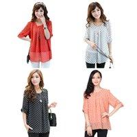 Cheap Retail Wholesales, New Sexy Women's Short Sleeve Polka Dot Print Shirt Chiffon Blouse Oversized Top Summer Womens Tops