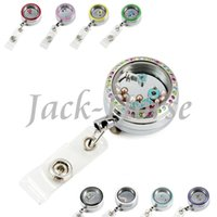 Wholesale Locket badge holder glass locket rn teacher retractable id holder locket badge holder badge reel lanyard nurse badge reel