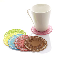 Wholesale New Arrivals Coaster Heat Resistant Pads Cup Mats Silicone Hollow Out Retro Diameter cm JA87