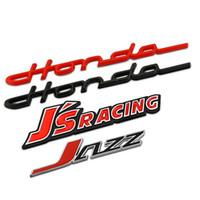 Cheap Black Red JAZZ J'S Racing Thick Aluminum Chrome Metal Emblem Badge Auto Refitting Exterior Cool Decal Logo 3D Sticker for Honda