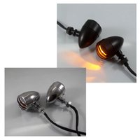 Wholesale 2pcs left right Motorcycle Retro Front Rear Turn Signals Indicators Mini Bullet Blinkers Lights For Harley