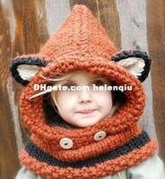 beret scarf - 2015 New lovely Fox Children Skullies Hat And Scarf Autumn Winter Keep Warm Knitted Cap Beanies Orange