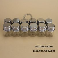aluminium bottle caps - 48pcs High Quality ml Glass Sample Vial Protable Mini Glass Bottles With Aluminium Cap Women Cosmetic Box