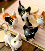 Wholesale Novelty cat Key Chain keyring Creative Gifts lovely Keychain Key Ring Trinket male lovers Kitty HandBags Pendant Ornament Trinket