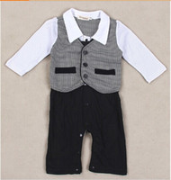 baby pants climbing - Retails Baby Boy Kids Casual Romper Gentleman Pants long sleeve climb clothes Sets baby clothing for boys kids one piece romper