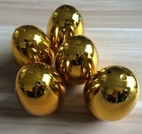 Wholesale 8x5 cm Gold Plastic Easter Eggs For Wedding Party decoration Plastic Toy Capsule Solid Colorful eggs toys