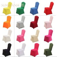 Wholesale 20 Universal White Polyester Spandex Wedding Chair Covers for Weddings Party Banquet Folding Hotel Decoration New