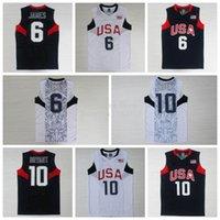 usa olympic basketball jersey - 2008 Olympics USA Dream Team Lebron James Kobe Bryant White Blue Stitched Basketball Jerseys USA Olympic Basketball Jersey