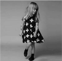 Wholesale brand Nununu cross printed dress Baby girls dress kids children short sleeve fashion spliced princess girl dresses hight quality free shippi