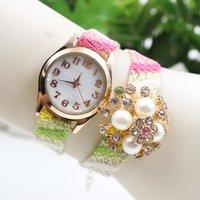 Wholesale Hot resin ribbon straps pearl diamond watch fashion women bracelet quartz dress wrist watches ladies dress flower watches