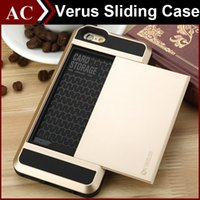 pocket pc - Verus TPU PC Hybrid Slide Case For iPhone SE S Plus Galaxy S6 S7 Edge Wallet Card Slots Cover Double Layer Shockproof Back Shell DHL