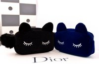 Wholesale 2015 Best Selling Cute Cat Shape Cosmetic Bags Cartoon Cell Phone Bags Handbags Makeup Bag