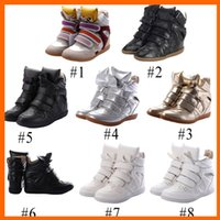 Wholesale 2014 Velcro Women s Sneakers High Casual Height Increasing Wedges Women Shoes Isabel Sneaker for Women