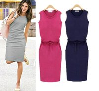 tunic - 2015 Summer Style Pure Color Casual Dresses Ladies Tank Lace Tunic Slim Pencil Dresses Knee Length Bodycon Party Dress OXL8456
