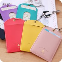 Wholesale pieces Solid Color PU Leather Card Holder Keychain Card Stands Holder Sample Bank Card Pack Transportation Card Cover