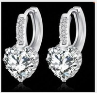 austria shopping - 2016 NEW Austria Crystal sterling Silver plating Wedding Rhinestone Stud Earring Prong Setting Engagement Jewelry color free shopping