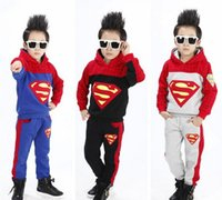 Wholesale 2014 Winter clothes new style children suit superman spider man hooded tops pants boys casual sets kids fleeces outfits SM955