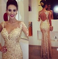 beaded foils - 2015 applique pure gold equipment long sleeve mermaid sexy lace Prom Dresse celebrity Cheap party gowns open back gold foil dazzling beauty
