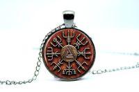 american vision - 10PCS Vegvisir Viking Compass Pendant Necklace Glass Photo cabochon necklace BLACK vision