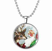 al por mayor santa de la navidad de la vendimia-Glow collar de la vendimia de serie Christmas In Dark retro de acero inoxidable de Santa copo de nieve de los ciervos colgante de collar de la joyería Festival
