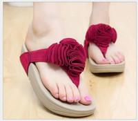 Cheap Size 35-40 Hot 2015 Sweet flowers Women Flip Flops Summer Sandals Platform Wedges Slippers Girl's Fashion Female slippers