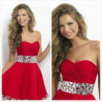 Wholesale 2015 Red Sexy Short Dresses Graduation Gowns Charming Sweetheart A Line Mini Formal Party Dress Sparkling Crystals Sash Chiffon Homecoming
