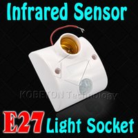 Wholesale Automatic Human Body Infrared IR Sensor LED Bulb Light E27 Base PIR Motion Detector Wall Lamp E27 Holder Socket AC V V