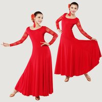 ballroom dancing apparel - 6pcs Ladies Lace Long Sleeves Dance Dress Latin Rumba Tango Cha cha Dancing Costume Ballroom Apparel TL201