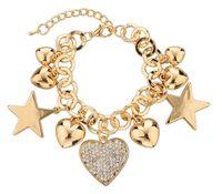 beetles love - Fashion Heart Beetle Charm Bracelets Bangles For Women Real Gold Plated Bracelet Austrian Crystal Chain Pulseras SBR140221