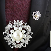 Wholesale Kayshine New Design Jewelry Imitation Pearl Flower Rhinestone Brooch