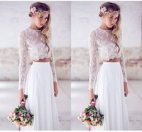 two piece wedding dress - 2015 Hot Sale Two pieces Crop Top White Wedding Dresses Chiffon Ruched Floor Length Wedding Gowns Spring Lace Long Sleeve Wedding Dresses