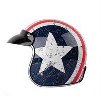 america chopper - Captain America motorcycle helmet vintage ABS man women s Tanked Racing Open Face helmet Chopper Jet Helmet