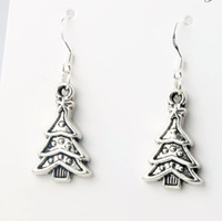 tibetan jewelry - 14 x40 mm Tibetan Silver Christmas Tree Triangular leaves Charm Pendant Earrings Silver Fish Ear Hook Jewelry E747