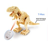 Wholesale DIY D Model Puzzle Jigsaw Telecontroller Wooden Dinosaur kits Educational Toy Gifts Assembly creative intelligenceer abil