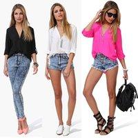 Cheap Women Full Sleeve Blouse Button Shirt Chiffon Loose Casual Top Basic Tee Drop Shipping & Free Shipping