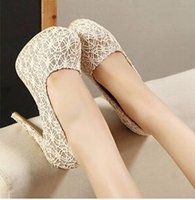 Cheap Vintage Lace Wedding Shoes With High Heels Apricot Bridal Shoes Cheap Sexy Free Shipping