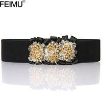 beaded stretch belt - feimu golden crystal beaded stretch elastic belt girdle Ms fashion dress sub decorative obi