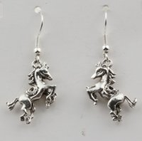 antiqued silver earrings - Earring Pair Antiqued Silver D Horse Charm Earrings With silver Fishhook Ear Wire X mm