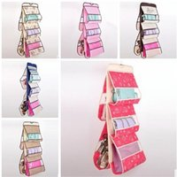 Wholesale Wall Door Hanging Storage Bag Organizer Container Multilayer lovely Fabric Pouch Cotton Dot Pockets behind doors on walls LJJH175