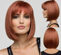 bang tidy - Wonderful style straight short synthetic brownish red bob wig with tidy fringe bang for white women