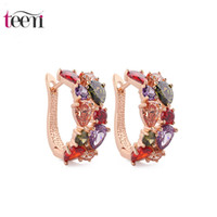 Wholesale Teemi Brand Hot Sale Mona Lisa Multicolour AAA Cubic Zirconia Fashion Stud Earrings for Women K Real Rose Champagne Gold Pated Girl Gift